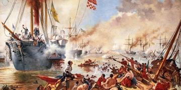 Cópia do original de Vitor Meirelles: a Batalha Naval do Riachuelo. Autor: Oscar Pereira da Silva (1867-1939).