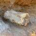 Pedra onde está o fóssil será retirada nesta segunda-feira na rodovia entre Marília e Júlio Mesquita (Foto: Fernanda Marion / TV TEM)